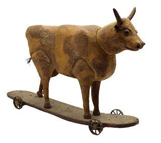 Early Americana Folk Carving of Bull on Wheels