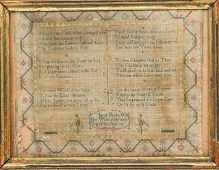 Early American Religious  Sampler 1792