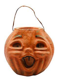 Early Vintage Papier-mache Jack-o-lantern Basket