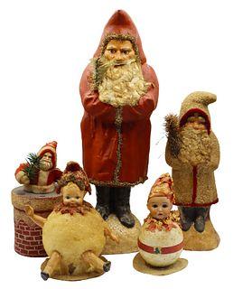 (5) Early Christmas German Handpainted Figures