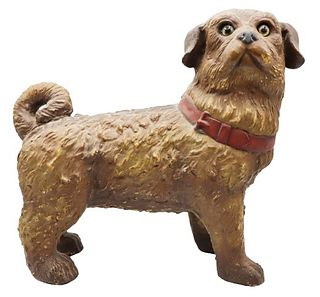 Early Rare Polychrome Dog Sculpture w/ Glass Eyes