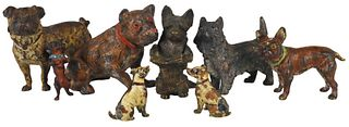 Collection (8) Small Viennese Bronze Dog Figurines