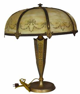 Antique Painted Stained Glass Table Lamp
