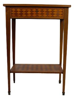 Antique Marquetry Jewelry Chest Table with Mirror