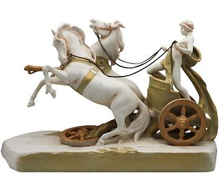 Royal Dux Porcelain Chariot Grouping