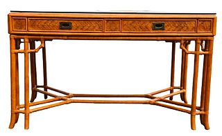 Woven Bamboo Glass Top Console Table