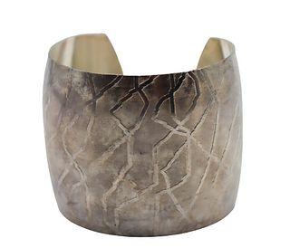 American Indian Silver Cuff Bracelet w/ Design