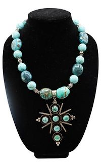 Sterling Turquoise Beaded Necklace w Cross Pendant
