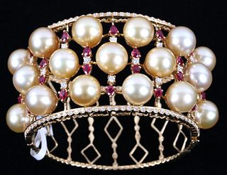 South Sea Gold Pearl, Ruby & Diamond 18K Bracelet