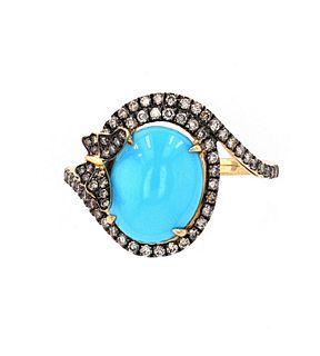 Turquoise & Brilliant Diamond14k Yellow Gold Ring