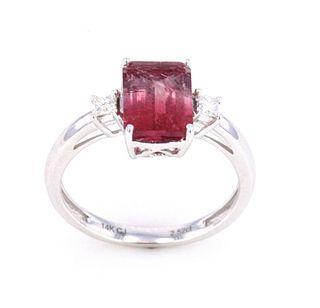 Bi-Color Watermelon Tourmaline & Diamond Ring