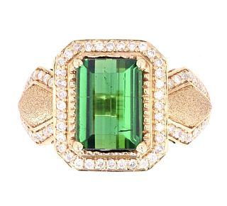 Green Tourmaline and Diamonds Set in 14K Ring