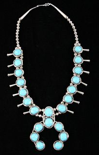Navajo Sleeping Beauty Turquoise Squash Necklace