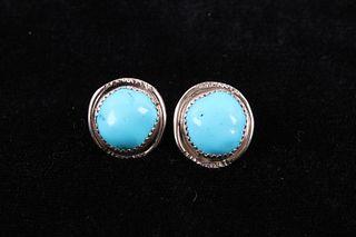 Navajo Sleeping Beauty Turquoise Sterling Earrings