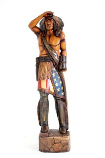 Large American Carved Cigar Store Indian Chief