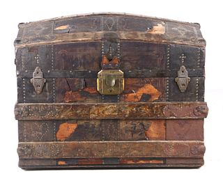 Early 1900's Humpback Steamer Metal Plated Trunk