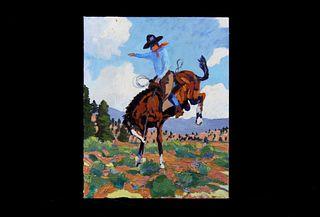 Original Wyoming Cowboy Oil by Tom Waugh 1977