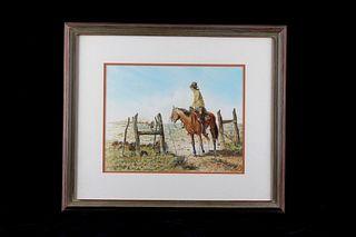 Original Western Cowboy Watercolor C. Winoate 1975