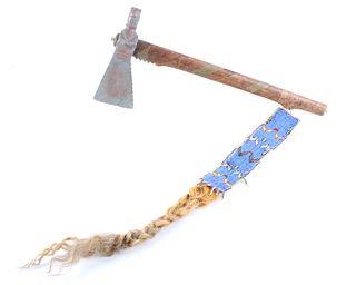 Blackfoot Pewter Pipe Tomahawk w/ Drop 19th C