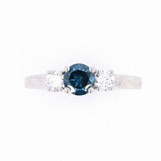 Blue Diamond Art Deco 14k White Gold Ring