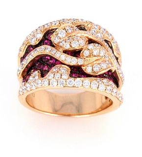 Hot Pink Ruby & Diamond 18k Yellow Gold Ring