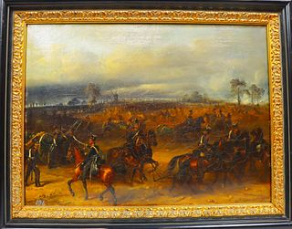 19th C. Continental European Battle Scene, O/C