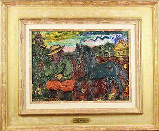 David Burliuk (1882-1967) Russian, Oil on Board