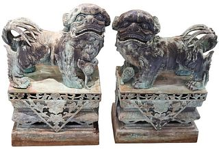 Pair of Monumental Chinese Bronze Foo Dogs