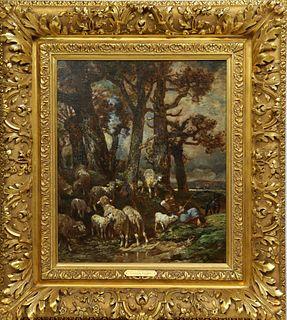 Charles Emile Jacque (1813-1894) French, O/C