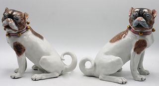 Important Rare Pair of Porcelain Dresden Pugs