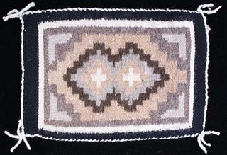 Navajo Two Grey Hills Wool Salesman Sample Rug