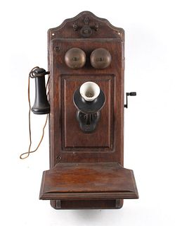 Early 1900s Kellogg Oak Wall Switchboard Telephone