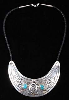 Navajo T. Singer Sterling Effigy Collar Necklace