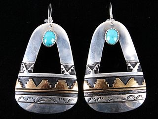 T&R Singer Navajo Sterling & Turquoise Earrings