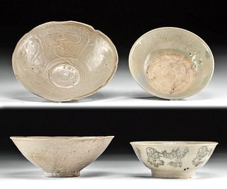 Two Chinese Song Dynasty Glazed Pottery Bowls w/ TL