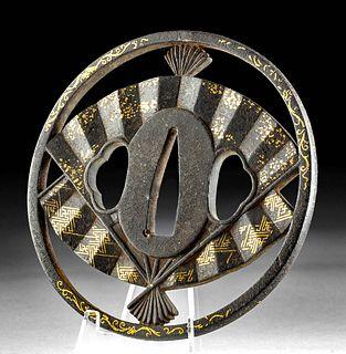 Japanese Edo Gilt Iron Tsuba w/ Fan Design