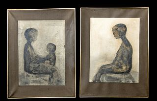 2 Signed James Chan Leong Mixed Media Works, 1961