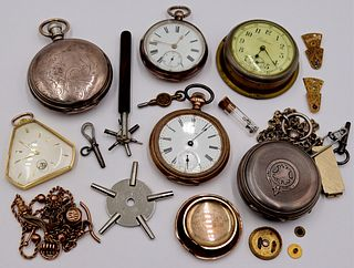 WATCHES. Assorted Pocket Watches and Accoutrements