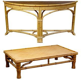 Chinese Elmwood Coffee Table and Bamboo Console