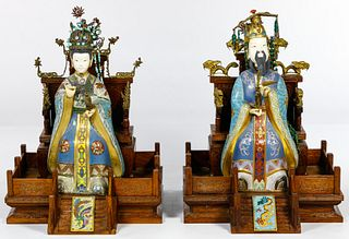 Asian Cloisonne and Wood Figurines