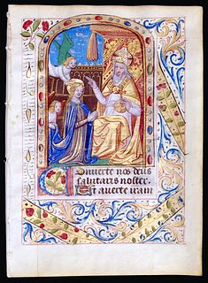 Beautiful Book of Hours Leaf, circa 1480 - Coronation of the BVM