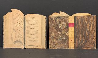 Pair c. 1850 Spectacular Trompe l'Oeil (Two-Dimensional) Watercolors of Open Faux-Books, c. 1850