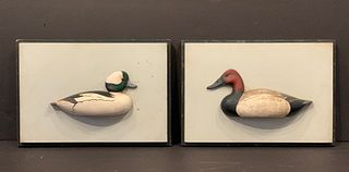 Pair of Duck Carvings, a Bufflehead and a Canvasback, Scituate, Massachusetts, c. 1940-1950