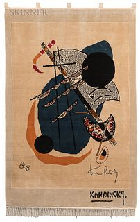 After Wassily Kandinsky (Russian, 1866-1944) Kleine Welten II, 1922. Signed, monogrammed, and dated within the weave. Carpet-woven wall