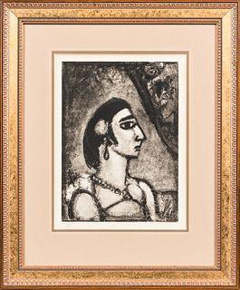 Georges Rouault (French, 1871-1958) Femme de profil, vers la droite, from the suite Quatorze planches gravées pour Les Fleurs du Mal. 1