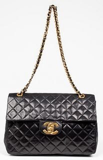 Chanel Black Leather Maxi Classic Flap Handbag