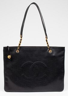 Chanel Black Leather Jumbo Shopping Tote Bag