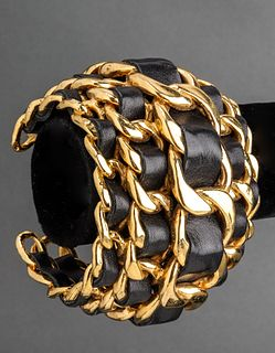 Chanel Runway Lambskin Leather Cuff Bracelet