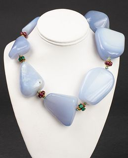 Iradj Moini Chalcedony Emerald & Ruby Necklace
