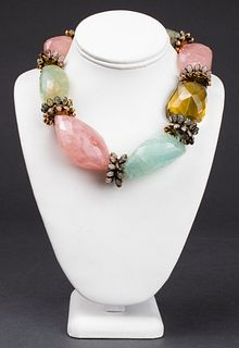 Iradj Moini Rose/Sage Quartz, Aquamarine Necklace